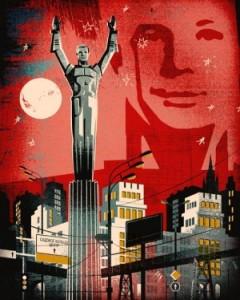 Diseño de portada para Bolshoi Gorod Magazine inspirado en el monumento a Gagarin de Moscú.