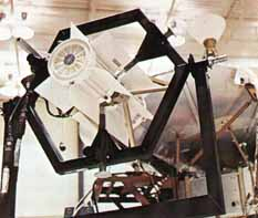 Two RTGs are mounted at the end of each of two extended booms to reduce nuclear radiation effects on the sensitive scientific instruments