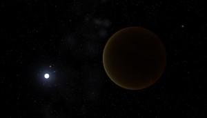 Representación de un planeta de hierro orbitando la estrella enana blanca GD 356. Crédito: Edasich/Celestia.