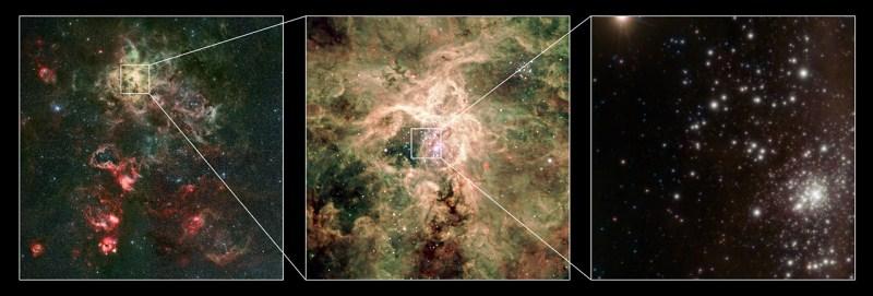 El joven cúmulo RMC 136a, comúnmente llamado R136. Crédito: ESO/P. Crowther/C.J. Evans.