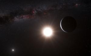 Impresión artística del planeta alrededor de Alfa Centauri B. Crédito: ESO/L. Calçada.