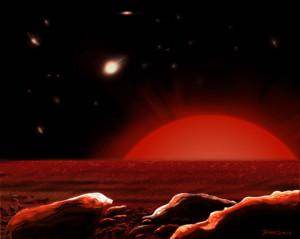 Representación artística de la vista de un hipotético planeta orbitando una estrella gigante roja. Se espera que nuestro sol, en unos cuantos miles de millones de años, crezca al punto de freír la Tierra y luego engullirla. Crédito: James Gitlin.