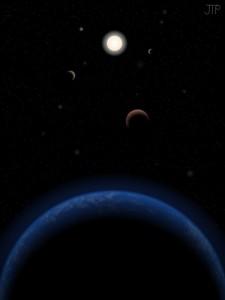 Ilustración artística del sistema Tau Ceti. Crédito: J. Pinfield.
