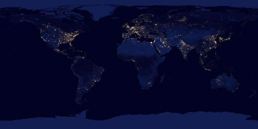 El mundo de noche. Imágenes obtenidas en 2012 por el satélite Suomi NPP. Crédito: NASA Earth Observatory/NOAA NGDC.