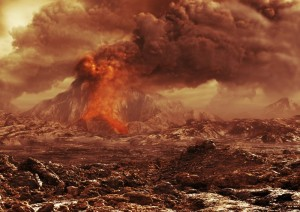 Ilustración artística de un volcán venusiano activo. Crédito: ESA/AOES.