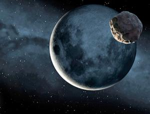 Ilustración artística de un asteroide en órbita alrededor de la Luna. Crédito: Mark Garlick/Science Photo Library.