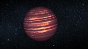 Representación de la enana marrón 2MASSJ22282889-431026, con una atmósfera similar a la de Júpiter. Crédito: NASA, ESA, y JPL-Caltech.