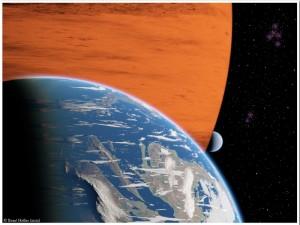 Ilustración artística de dos exolunas orbitando un planeta gigante gaseoso. Crédito: R. Heller, AIP.