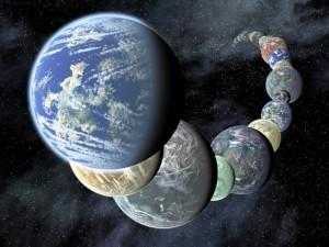 Ilustración artística de planetas rocosos de tipo terrestre. Crédito: NASA/JPL-Caltech.