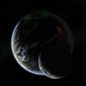 Ilustración artística del exoplaneta Gliese 581g (y una luna), que podría ser apto para la vida. Crédito: Bill Lile.