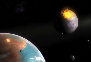 Cuando la Luna estaba recibiendo su mayor número de impactos, ahí estaba la Tierra. Crédito: Dan Durda.