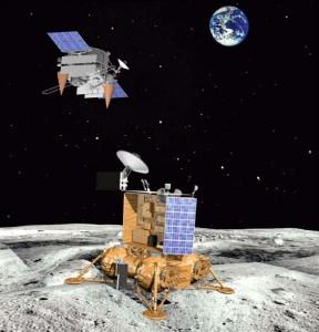 Representación de la sonda y el aterrizador de la misión Luna-Glob. Crédito: NPO Lavochkin/IKI.