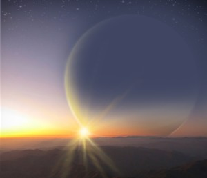 Ilustración artística de una puesta de sol vista desde una luna similar a la Tierra orbitando el planeta gigante PH2 b. Crédito: H. Giguere, M. Giguere/Universidad de Yale.
