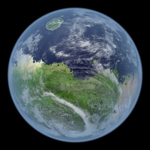 Un Marte vivo, con la imagen centrada en el hemisferio sur. Crédito: Kevin M. Gill.