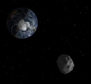 Ilustración artística del asteroide 2012 DA14 en su paso cercano a la Tierra. Crédito: NASA/JPL.
