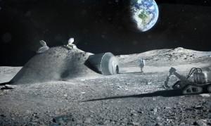 Base lunar construida gracias a la impresión en 3D. Crédito: ESA/Foster + Partners.
