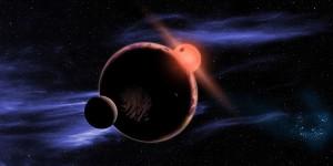 Ilustración artística de un hipotético planeta habitable con dos lunas y orbitando una estrella enana roja. Crédito: David A. Aguilar.