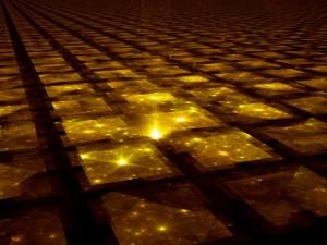 El espacio-tiempo puede extenderse hasta el infinito. Si es así, entonces todo debiera comenzar a repetirse en algún momento, formando un gigantesco mosaico de universos. Crédito: R. T. Wohlstadter.