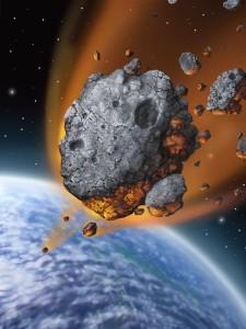 Asteroide cayendo a la Tierra