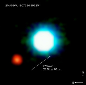 Enana marrón 2M1207 y exoplaneta