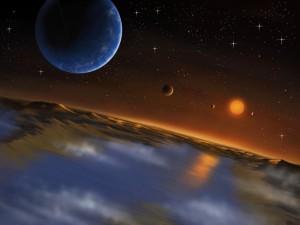 Sistema Kepler-62 visto desde planeta f