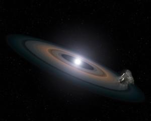 Disco escombros y asteroide enana blanca
