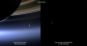 Tierra y Luna vistas por Messenger y Cassini
