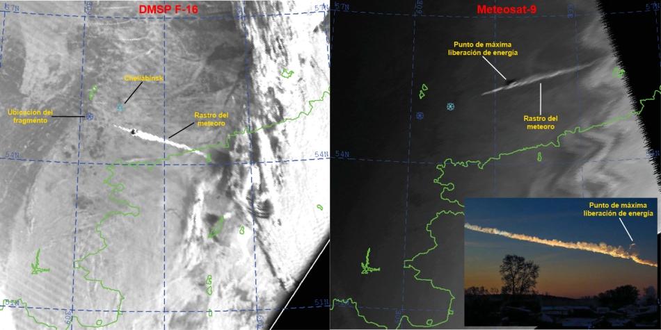 Meteoro de Cheliábinsk visto por satélites