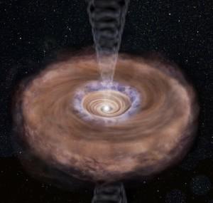 Gas cayendo hacia una estrella