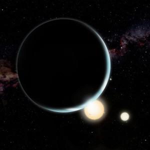 Ilustración artística de Kepler 34b que orbita dos estrellas. Crédito: David A. Aguilar (CfA)