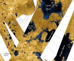 Mapa de la parte norte de Titán, hecho por el radar de alta resolución de la sonda de Cassini. (NASA/JPL/USGS)