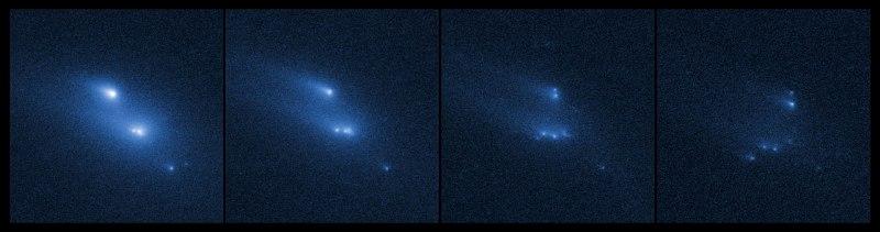 El asteroide P/2013 R3 desintegrandose. Crédito: NASA /ESA / D. Jewitt (UCLA)