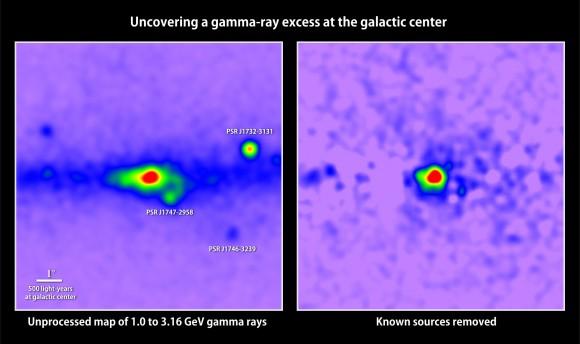 Señal que podría deberse a la aniquilación de materia oscura. Crédito: T. Linden, University of Chicago