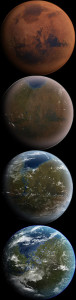 Interpretación artística de la terraformación de Marte, en cuatro etapas.