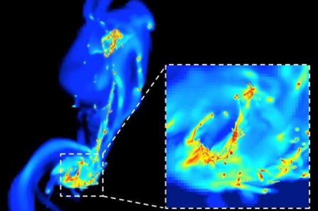 Simulación de colisión de galaxias