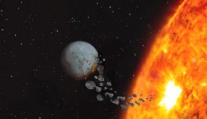 Estrella consumiendo planeta rocoso