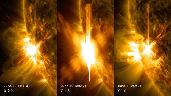Tres llamaradas solares de clase X.  -La de la izquierda fue producida el martes 10 de Junio a las 11:41 UT, y es de clase X2.2. -La del medio fue producida también el martes 10 de Junio a las 12:55 UT, y es de clase X 1.5. -La de la derecha fue producida el miércoles 11 de Junio a las 09:05 UT, y es de clase X 1.0. Estas imágenes fueron obtenidas por el Observatorio de Dinámica Solar de la NASA.