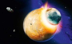 Formación de la Luna por colisión de Theia