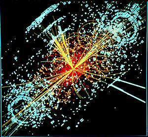Una traza hipotética del bosón de Higgs en una colisión protón-protón simulada.