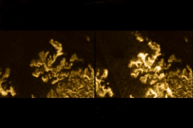 Imagen de la izquierda: la usual costa de Ligeia Mare. Imagen de la derecha: una mancha extraña y brillante descubierta el mes de julio del año pasado. Crédito: JPL – Caltech/ ASI/ Cornell/ NASA/ PA.