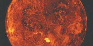 Representación artística de Venus. Venus es un puro infierno, con temperaturas extremadamente calientes, una presión aplastante, y lluvia de ácido sulfúrico.  Crédito: SSV, MIPL, Magellan Team, NASA