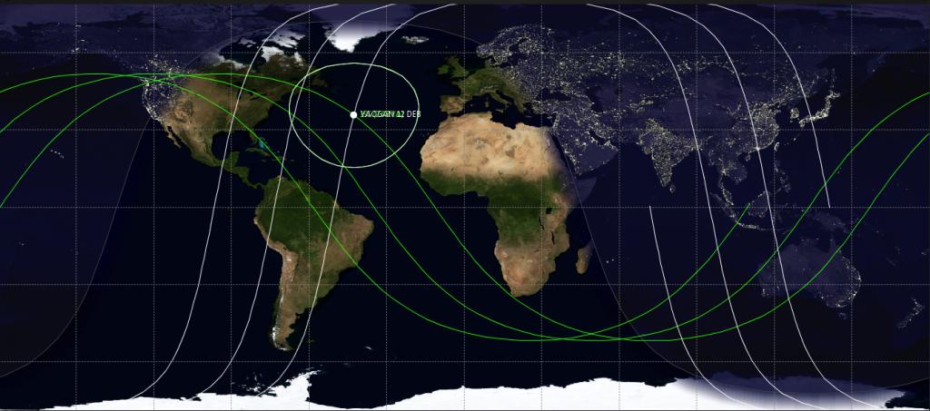 ISS (verde) y Yaogan 12 DEB (blanco), en el máximo acercamiento. Crédito: Cosmo Noticias / JSatTrak.
