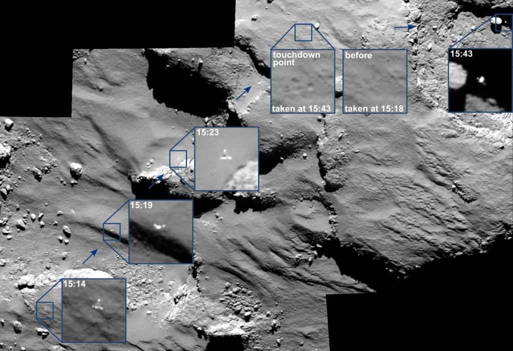 Philae rebota sobre su cometa