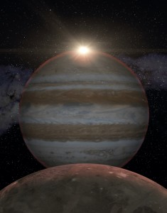 Júpiter y Ganímedes, eclipse