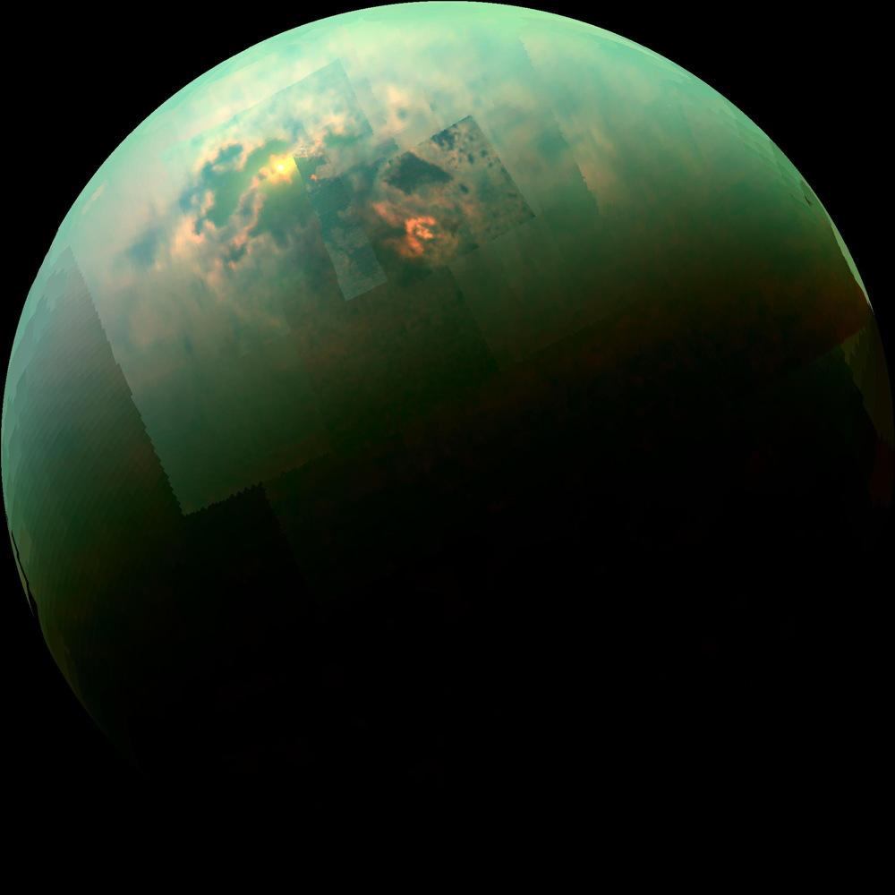 Hemisferio norte de Titán. Crédito: NASA/JPL-Caltech/University of Arizona/University of Idaho