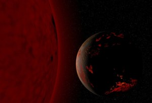 Tierra y Sol como gigante roja