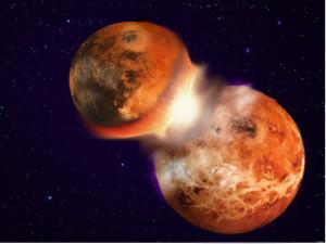 Colisión que pudo formar la Luna