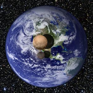 Plutón, Caronte y la Tierra