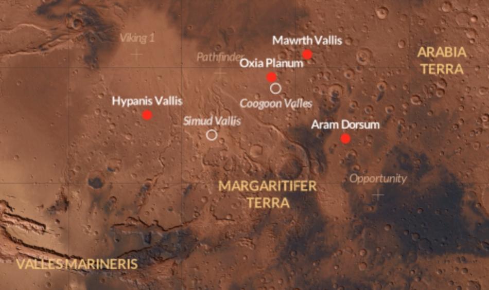 Lugares candidatos ExoMars