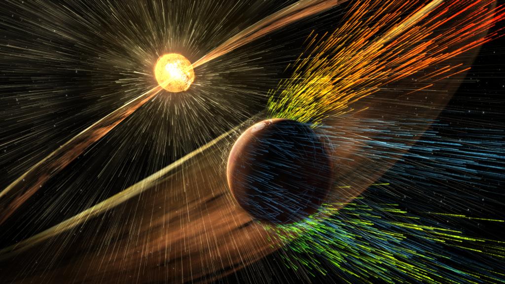 Tormenta solar, atmósfera de Marte
